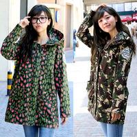 Free shipping woman camouflage easing long windbreaker jacket