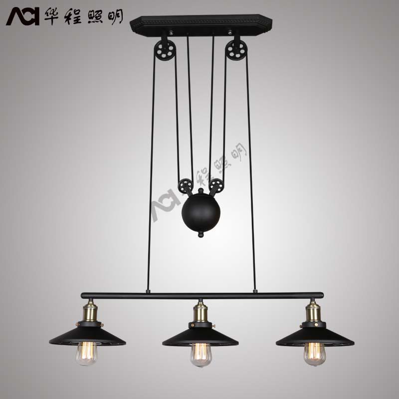 pulley pendant chandelier vintage industrial iron lamp fixture china. Black Bedroom Furniture Sets. Home Design Ideas
