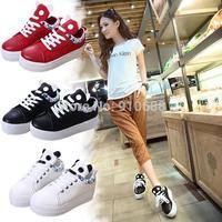 New 2014 Autumn student skateboarding shoes platforms high-top canvas+PU shoes women's fashion cartoon panda shoes Free Shipping