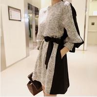 979 autumn women's one-piece dress long-sleeve patchwork lacing plus size basic