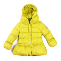 Free shipping retail 2014 child winter medium-long down cotton-padded jacket baby thickening outerwear solid color laciness