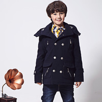 New Fashion 2014 Winter Children's Clothing Male Child Woolen Overcoat Double Breasted Thickening Outerwear Boys Trench Coat