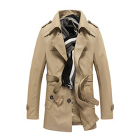 2014 High quality Fashion brand men winter trench coat mens long jacket