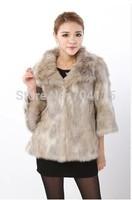 Women's fashion quality dovetail  fox fur coat