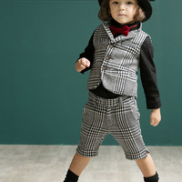 freeshipping!2014 newest cool boys 4 pieces set(tie+tshirt+pants+vest) houndstooth male child set autumn set 5sets/lot
