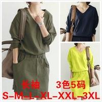 Plus size clothing casual linen one-piece dress slim waist dress female 8122