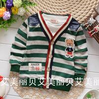 2014 autumn Hot sell children clothing baby boy stripe cardigan sweater