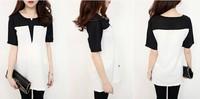 Women's patchwork color block chiffon skirt female medium-long chiffon shirt short-sleeve T-shirt