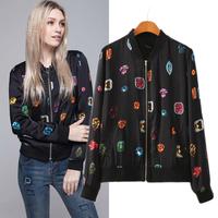 Free Shipping multicolour gem print baseball uniform jacket outerwear top