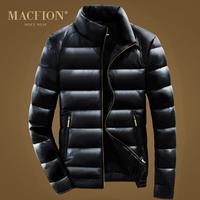Macfion 2014 men's down coat male PU stand collar thickening slim design short outerwear men's jacket