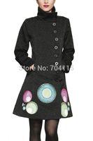 Autumn and winter black national trend women's print overcoat