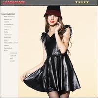 2014 autumn women's fashion genuine leather V-neck one-piece dress princess dress leather skirt