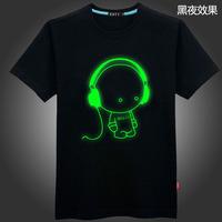 Luminous t shirt ultralarge night change shine music lilliputian short sleeve T shirt iron spideman superman street 6XL fashion