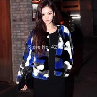 new 2014 autumn and winter o-neck multicolour leopard print faux fur coat short winter jacket women free shipping