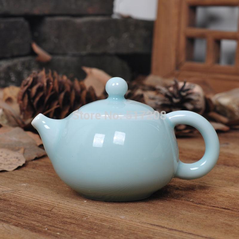 Boutique porcelain tea set ceramic tea pot Chinese Longquan celadon pot blue with infuser 150ml fine