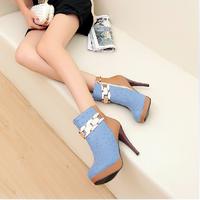 2014 autumn elegant color block decoration thin heels boots side zipper ultra high heels boots women's martin boots32-33Size