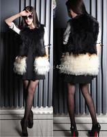 New Genuine Raccoon Woolen Fur Vest Women's Fur Waistcoats Patchwork Fur overcoat Winter Fur Jacket Free Shipping