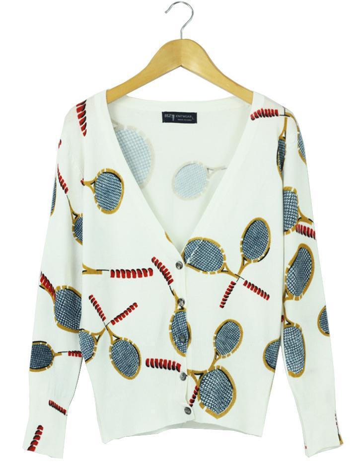 Sweaters women desigual tennis racket patterns printed cardigan women long sleeve casual knitted sweater shirt 2014 spring fall(China (Mainland))