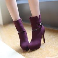 2014 new arrive fashion high heels zipper short big size women boots warm winnter lady boots small size us2-12