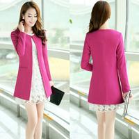 2014 autumn and winter women's fashion outerwear long-sleeve medium-long plus size S-XXXL  slim office coat 4 color