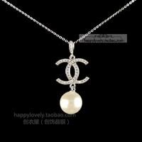 925 pure silver jewelry women's Women full rhinestone small necklace shell pearl chain