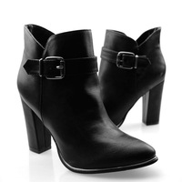 FREESHIPPING High-heeled Elegant Formal Small Pointed Toe Boots Thick Heel Boots Buckle army boots B-P-6311
