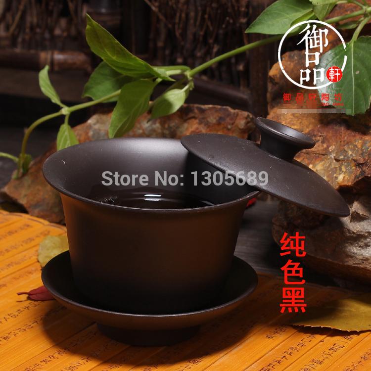 2014 hot selling Chinese zisha tea set purple clay gaiwan 100ml lid bowl saucer tea brew
