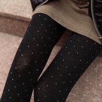 2014 Spring and autumn women vintage Small dot polka dot cotton pantyhose thick stockings tights