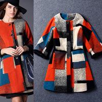 2014 Autumn & Winter Runway Fashion Luxury Brands Vintage Multicolor Plaid Woolen Blends Coat Designer Winter Outwear