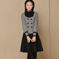 [LYNETTE'S CHINOISERIE - BE.DIFF]  woolen slim formal dress faux two piece vintage button double breasted stand collar