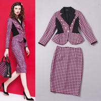 Europe High End Designer Career Office Clothing Set Women's Turn Down Collar Long Sleeves Swallow Gird Jacket + Skirt Set