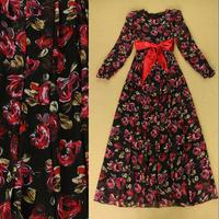 2014 Autumn Europe Catwalk High Street Fashion Long Dress Women's Red Rose Floral Printed Long Sleeves Tied Waist Full Dress