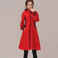 [LYNETTE'S CHINOISERIE - BE.DIFF] Lantern sleeve dress autumn winter woolen slim vintage autumn turtleneck wool patchwork