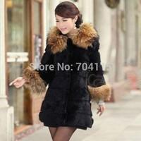 Women's medium-long faux raccoon fur outerwear