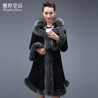 Queen 2014 berber fleece sheepskin fur one piece women's long design fox fur