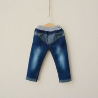 2014 children's clothing male child patch pocket patchwork water wash denim trousers straight pants