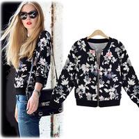 Fashion autumn 2014 print long-sleeve cardigans sweatshirt outerwear with zipper printing flower casacos