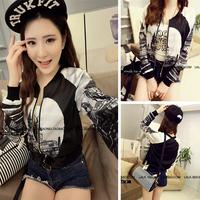 2014 autumn new ladies printed satin baseball jacket