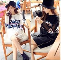 Maternity clothing autumn and winter fashion pattern patchwork plus size basic top medium-long clothing/Maternity Dress