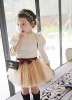 Gentlewomen puff sleeve 100% cotton female child long-sleeve T-shirt 2014 autumn flo