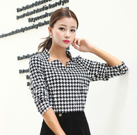 2014 new brand office style Upperwear fashion plus size  tailored plaid women fashion shirt  seventh sleeve fat shirts