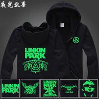 linkin park band luminous zipper neon cardigan with a hood sweatshirt