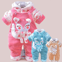 Winter and spring baby girl clothes thickening baby bodysuit set baby girl rompers with velvet  baby winter clothes dz41