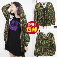 2014 autumn taste female top casual Camouflage loose thin long-sleeve