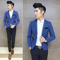2014 New men blazers autumn male casual blazer slim fashion woolen men's clothing suit jacket coats blue