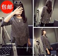 New 2014 autumn spring women's dresses loose plaid three quarter sleeve shirt cute one-piece dress  free shipping