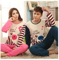 Spring and autumn summer cartoon long-sleeve lovers cotton knitted sleepwear set love lovers sleepwear female