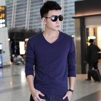 M-5XL  2014 Autumn  New Casual V-neck  Korean men's long-sleeved T-shirt  Slim Plus Size Men
