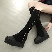 2014 autumn rivet platform shoes high-heeled boots single boots elevator high-leg boots
