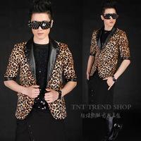 2014 New style Fashion men's casual half sleeve slim suit costumes leopard print rivet decoration blazers